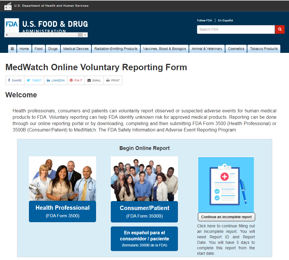 FDA's MedWatch Reporting System