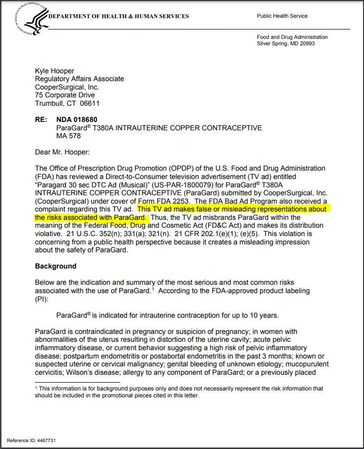 FDA warning letter Paragard
